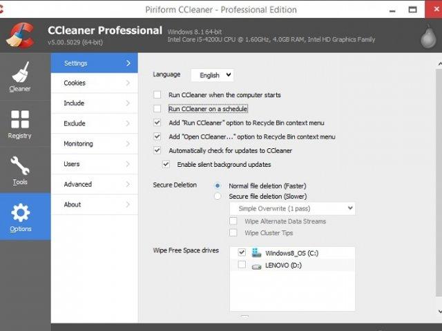 come eliminare dati con CCleaner